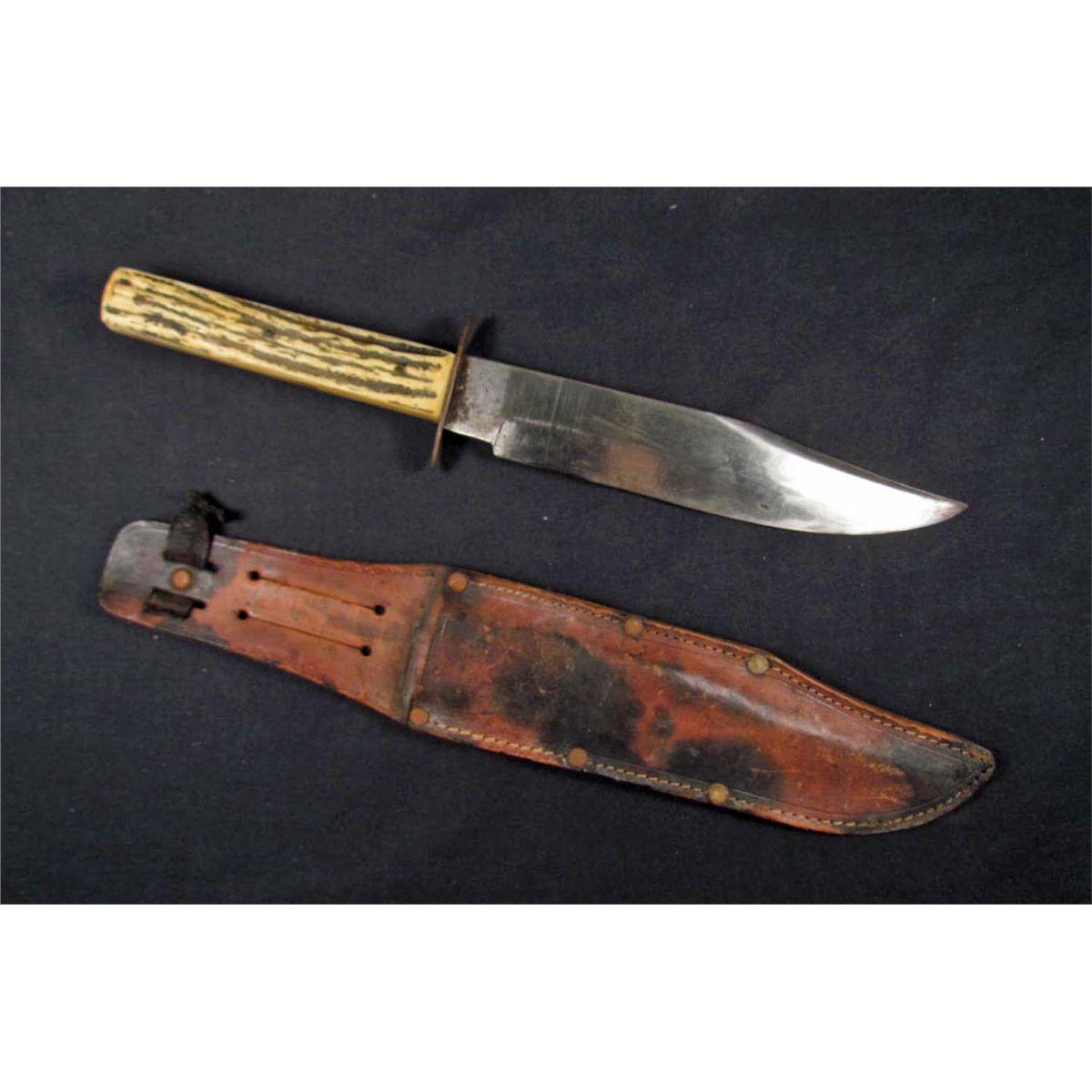 VINTAGE BOWIE KNIFE W/ LEATHER SCABBARD