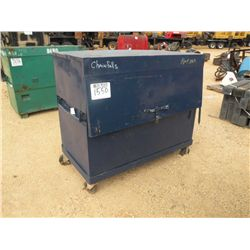 TOOLBOX W/MISC PIPE HANGER & HOSES