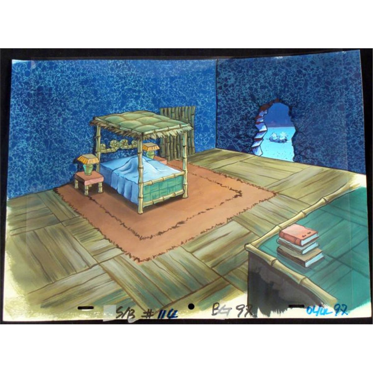 Living Room Background Animated: Original Cel & Background SpongeBobs Bedroom Animation
