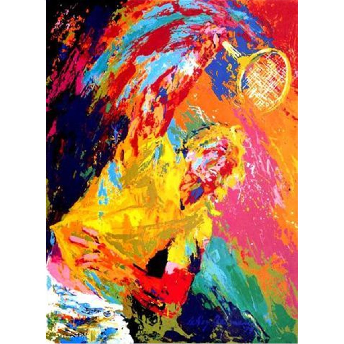 Power Serve Tennis Leroy Neiman Signed Le Art Print