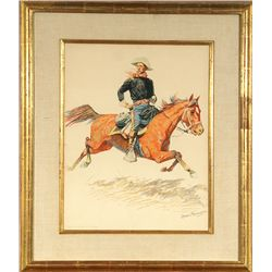 Frederic Remington, 1901 chromolithograph, hand signed