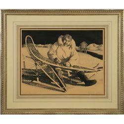 Fred Machetanz, stone lithograph