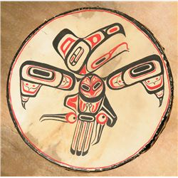 Kwakiutl Painted Drum, Early 1900s