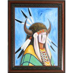 Allen Knowshisgun, oil on canvas