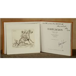 Harry Jackson, leather bound signed catalog with etching
