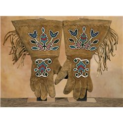 Crow Beaded Gauntlets, 19th century