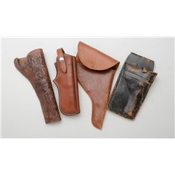 Lot of four misc. leather holsters including  a Bianchi #89 for a .22 semi-auto pistol, a  carved sl