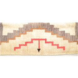 """Mexican woven rug approx. 34"""" x 52"""" showing  some age and displaying a white background  with grey,"""