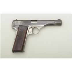 """Pre-nazi FN semi-auto pistol, 7.65mm cal.,  4-1/2"""" barrel, blue finish, checkered wood  grips, #2605"""