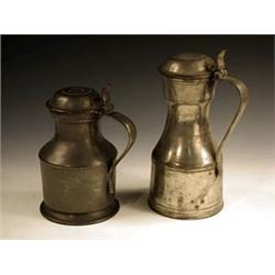 Two pewter lidded vessels of 'tappit hen' ...