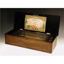 A late 19th century Swiss musical box, sta...