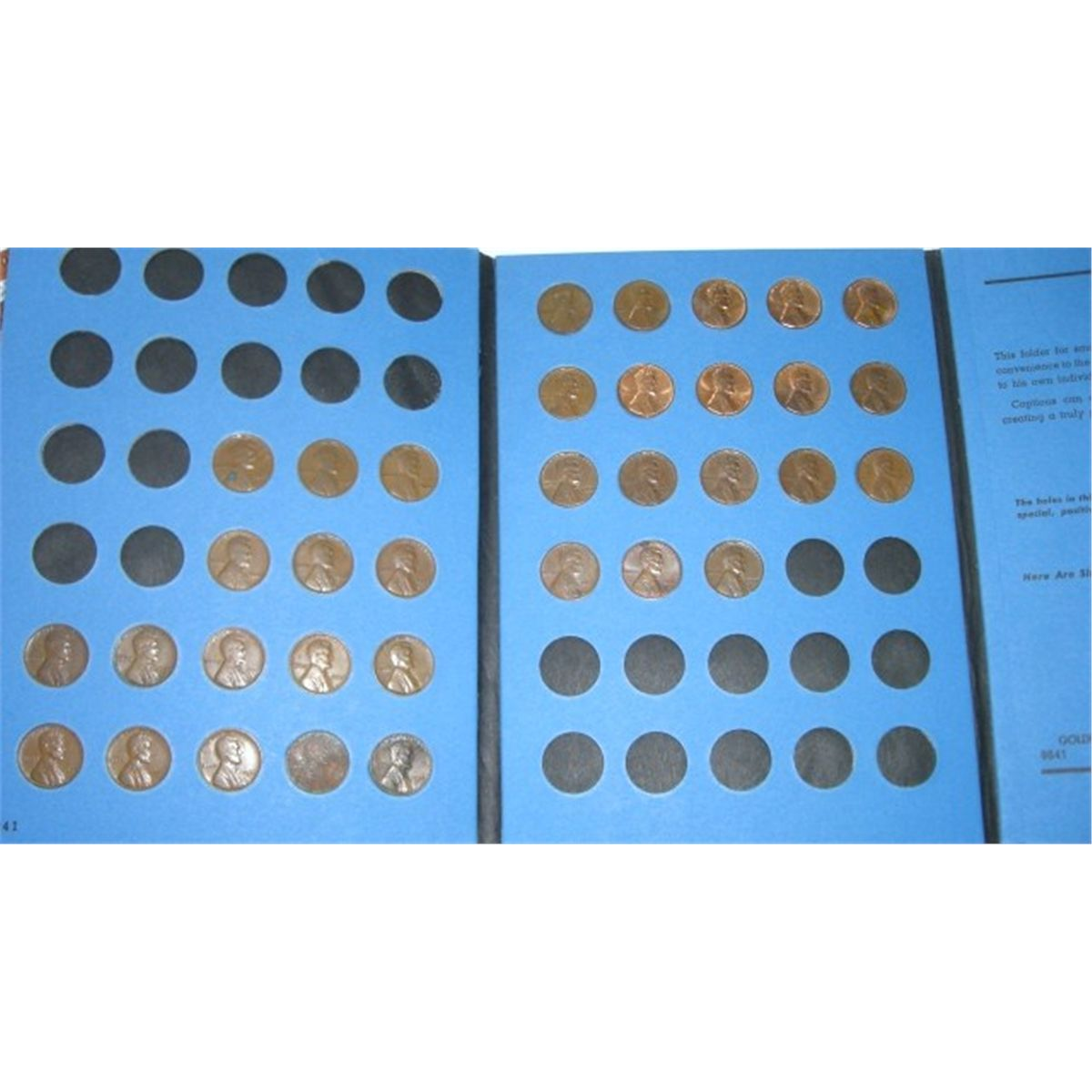 1926-1974 Lincoln Cent Whitman Book Includes 34 Pennies with S & D Mint  Marks  Please review Picture