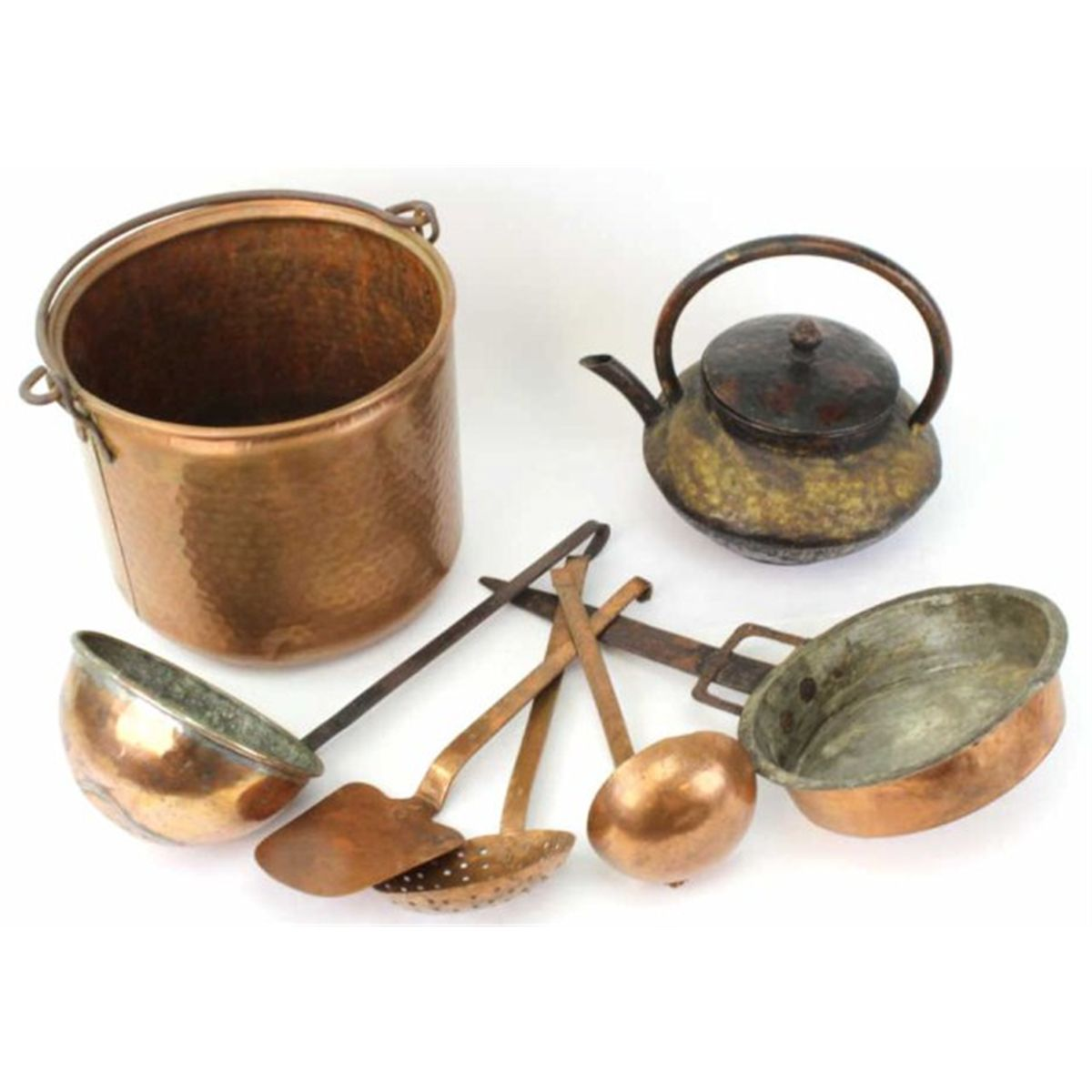 Collection Of 7 Copper Kitchen Items Includes 1 Hand Hammered Set Of 3 1 Spatula 1 Ladle 1 Strain