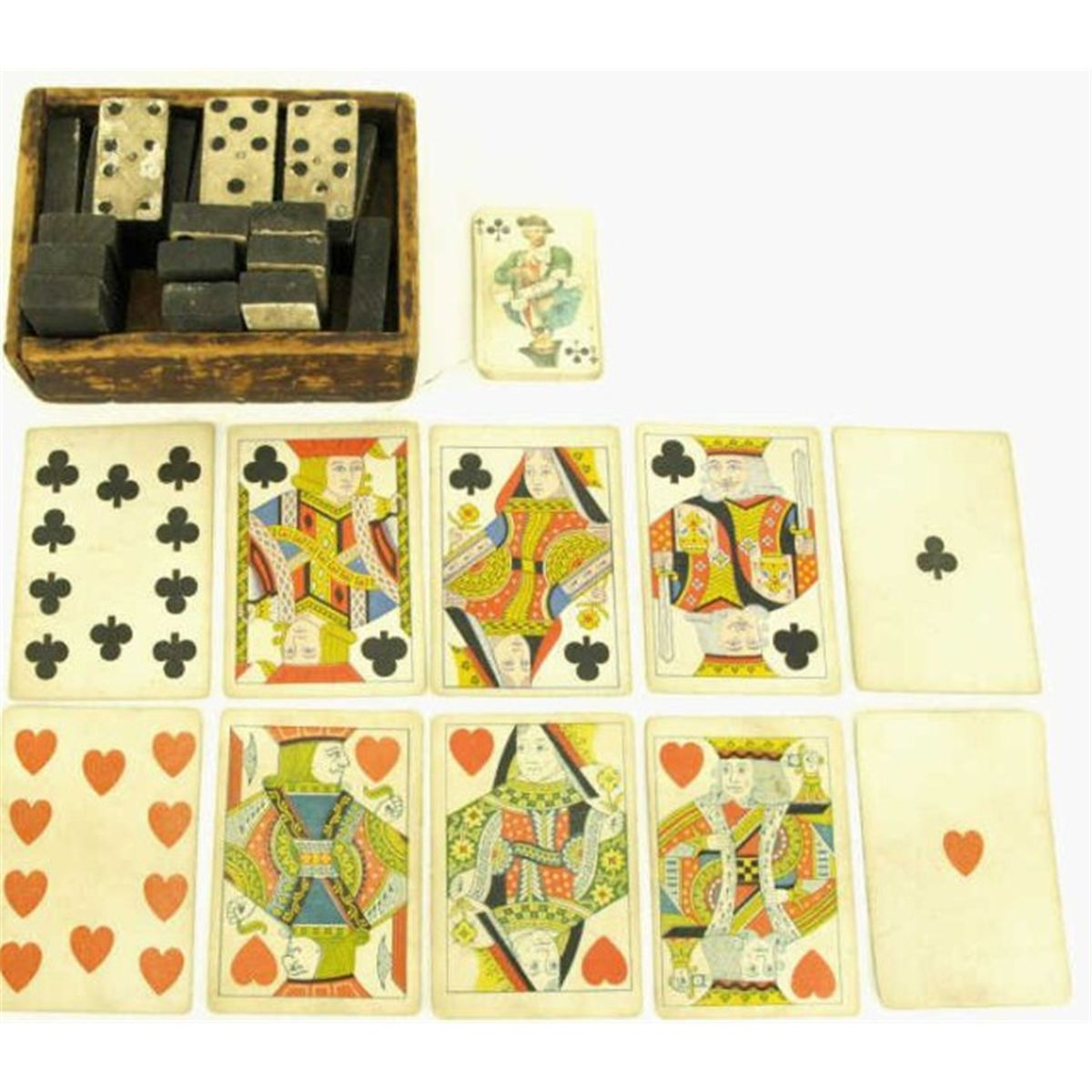 Mid 19th Century Set Of Wooden Dominoes And Misc Antique Playing Cards