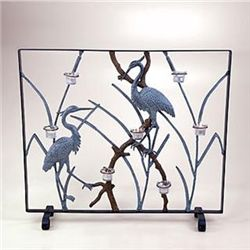 Crane Fireplace Screen - Candleholder