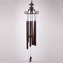 Leaf Scroll Wind Chime With Fleur De Lis