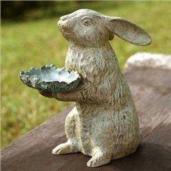 Bunny Holding Leaf Bird Feeder