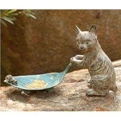 Cat And Leaf Bird Feeder