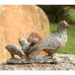 Quail Family Garden Sculpture
