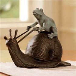 Snail Riding Frog Sculpture