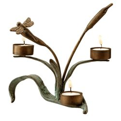 Cattails W/ Dragonfly Votive Holder