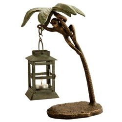 Monkey On Palmtree Lantern Candle Holder