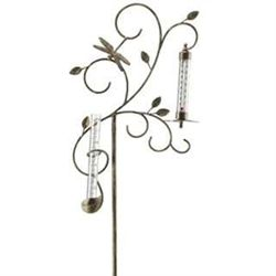 Dragonfly Rain Gauge & Thermometer Garden Stake