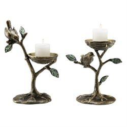 Bird & Branch Pillar Candle Holders