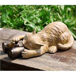 Cat With Binoculars Garden Scuplture