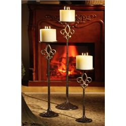 Set Of Fluer De Lis Floor Candle Sticks
