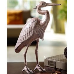 Cast Iron Heron Sculpture
