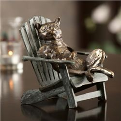 Cat On Beach Chair Sculpture