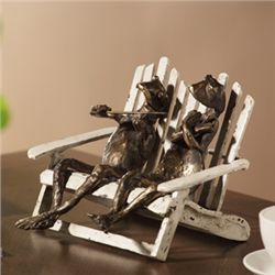 Frog Pair On Beach Chair Sculpture