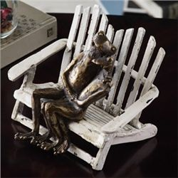 Frog Couple On Beach Chair Sculpture