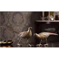 Cast Iron Bird Sculptures - Pair