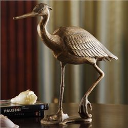 Cast Iron Egret Sculpture