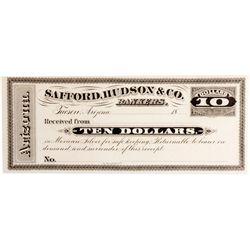 AZ - Tucson,Pima County - c1880 - Safford, Hudson & Co. Bankers Receipt