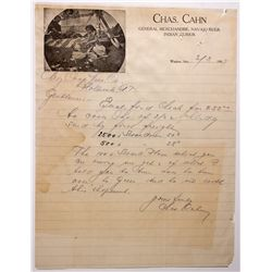 AZ - Winslow,Navajo County - 1907 - Indian Trader Letter