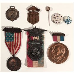 CA - 1897, 1896, 1904 1906, 1920, 1940, 1962 - Miscellaneous Political Medals, Ribbons and Pins