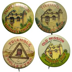 CA - Los Angeles,c1900 - Pacific Electric Railway Trolley Trip Advertising Pins Group 1