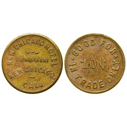 CA - New Chicago,Amador County - 1910 - New Chicago Hotel Token