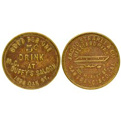 CA - San Francisco,Strahle & Co. and McDuffy's Saloon Tokens