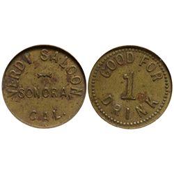 CA - Sonora,Tuolumne County - c1905 - Verdi Saloon Token