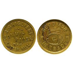 CA - Sutter Hill,Amador County - c1900-1920 - Summit House Token