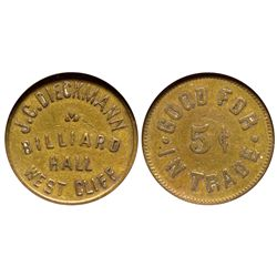 CO - West Cliff,Custer County - c1908 - J.C. Dieckmann Billiard Hall Token