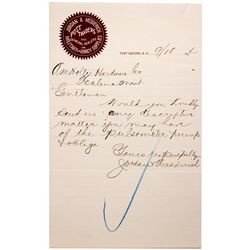 Dakota North - Fort Buford,Williams County - 1894 - Jordan & Hedderich Post Traders Letter