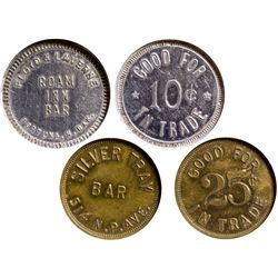 Dakota South - Fortuna and Fargo,Divide County and Cass County - c1910 - Bar Tokens