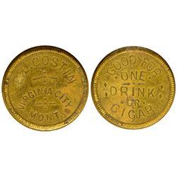 MT - Virginia City,Madison County - c1890 - E.L. Costin Token