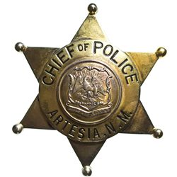 NM - Artesia,1930s - Stanley, O.T., Chief of Police Badge