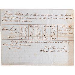 NM - Santa Fe,1849 - Return of Horse Document